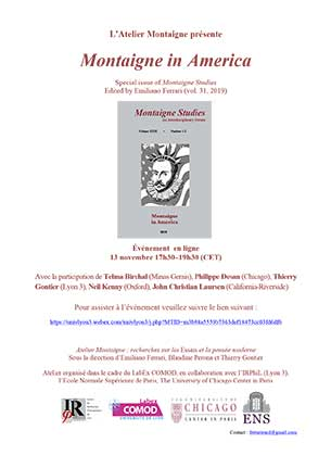 Affiche Atelier Montaigne - Montaigne in America - 13 novembre 2020