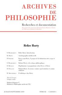 Relire Rorty, dans Archives de Philosophie, 2019/3 (Tome 82)
