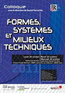 Formes, systèmes et milieux techniques
